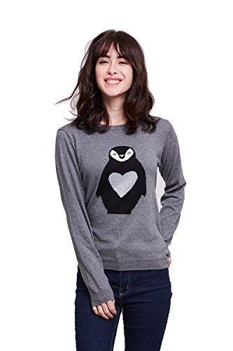 Alcea Rosea Women's Knitted Crew Neck Animal Ringtail Penguin Jacquard Spring Autumn Fitted Pullover Sweater for Girls (Grey Penguin, L)