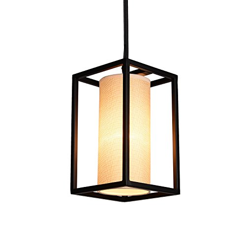 Creatgeek Modern Pendant Light with Natural Linen Drum Style ...