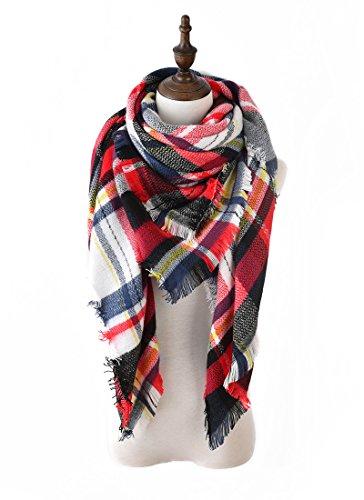 Lilbetter Stylish Warm Blanket Scarf Gorgeous Wrap Shawl  E White Red