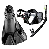 WACOOL Snorkeling Package Set for Adults, Anti-Fog Coated Glass Diving Mask, Snorkel with Silicon Mouth Piece,Purge Valve and Anti-Splash Guard w/Travel Short Swim Fins