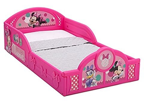Delta Children Deluxe Disney Minnie Mouse Toddler Bed with attached guardrails - Little One Drawer Pulls