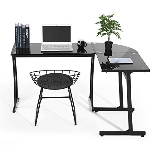 (GreenForest Office Desk L Shape Corner Tempered Glass Computer PC Laptop Table Workstation Home Office 3-Piece,Black with Black Glass)