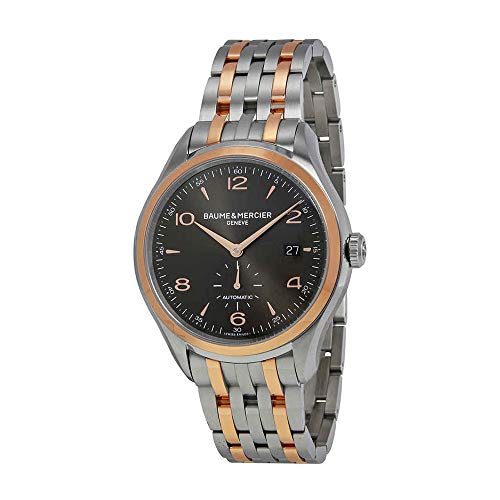 Baume & Mercier Clifton Two Tone Stainless Steel Mens Automatic Watch Sapphire Crystal - 41mm Analog Black Face with Second Hand and Date - Swiss Made Self Winding Luxury Dress Watches For Men 10210