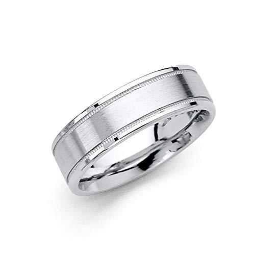 Wellingsale 14k White Gold Polished Satin 6MM Flat Milgrain Comfort Fit Wedding Band Ring - Size 7.5