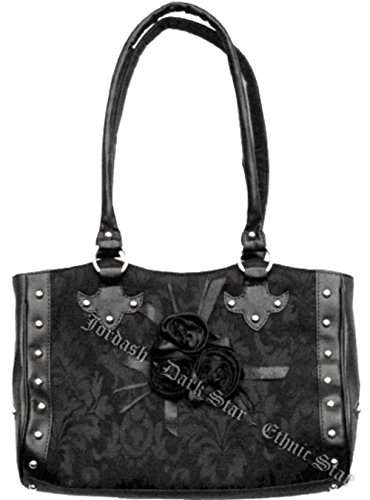 Dark Star Black Gothic Cross Brocade and Roses Hand Bag.