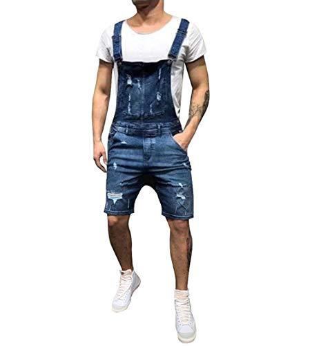 Shortall Blue - lisenraIn Men's Denim Bib Overalls Fashion Ripped Jeans Slim Jumpsuit with Pockets (Dark Blue-Shortalls, XXL)