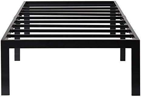 Olee Sleep 18 Inch Tall Heavy Duty Steel Slat Anti-slip Support Easy Assembly Mattress Foundation Maximum Storage Noise Free No Box Spring Needed, Black