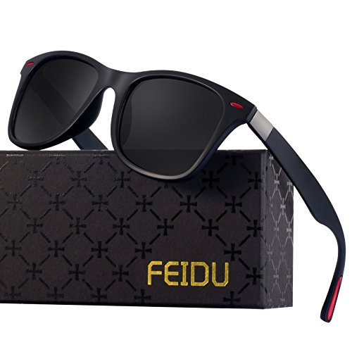 Wayfarer Sunglasses for Men Women - FEIDU HD Vision Polarized Sunglasses FD2150 (black/red,2.08) by FEIDU
