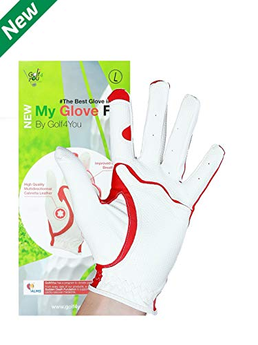 My Glove Fit - New Improved Men/Women/Junior Golf Gloves - Natural Fit Technology Made from Long Lasting, Durable Genuine multidirectionnal Cabretta Leather. Size L, for Right-Handed