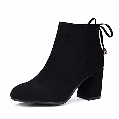 de de con invierno cuadrados black gruesas Europa Sra La botas botas gamuza E0q664