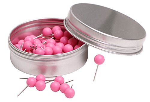 inch Small Round Head Map Tacks Pins for Home Office Bulletin Cork Board Use and DIY Craft Project (Pink) ()
