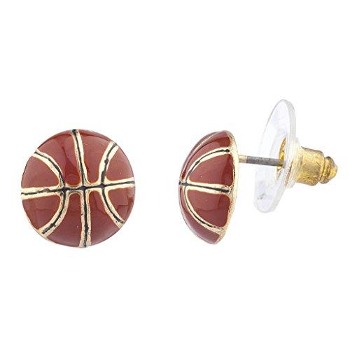 Gold Tone Sport Earrings (Lux Accessories Goldtone Brown Enamel Sports Basketball Novelty Post Earrings)