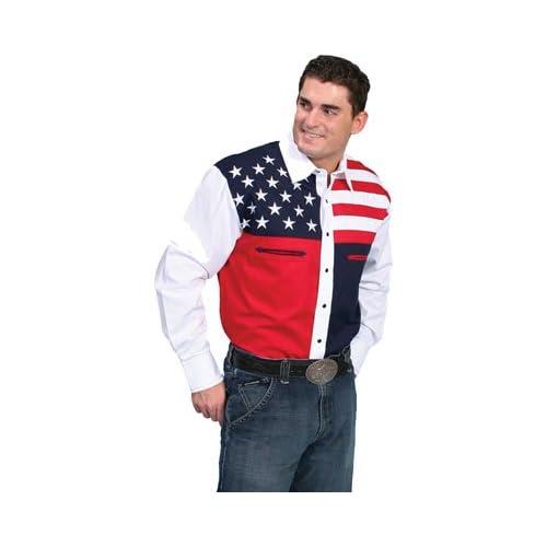 4c8d2fda Scully Men's Patriotic American Flag Colorblock Western Shirt Big And Tall  - P-756X Blue