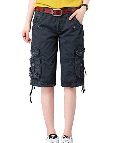 HOW'ON Women's Casual Loose Fit Twill Bermuda Cargo Shorts Multi Pocket Straight Shorts Dark Blue L