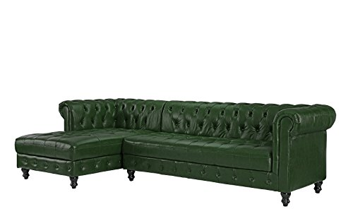 Amazon Com Divano Roma Furniture Classic Real Tufted Leather Match