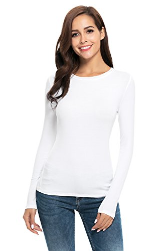 Women Basic Long Sleeve Crew Neck Comfy Layering Slim Fit Stretch Henley Tees Shirts Top White