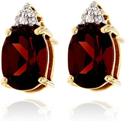 14k Gold Gemstone and Diamond Stud Earrings, Birthstone.