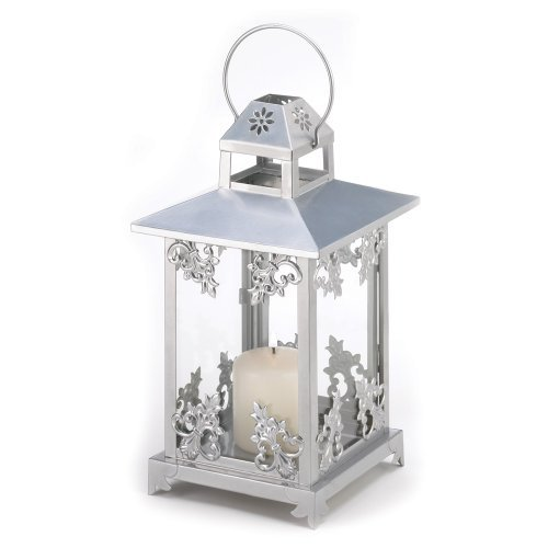 Silver Scrollwork Candle Lantern Wedding Center Piece Pack of 10 (Candle Lantern Scrollwork)