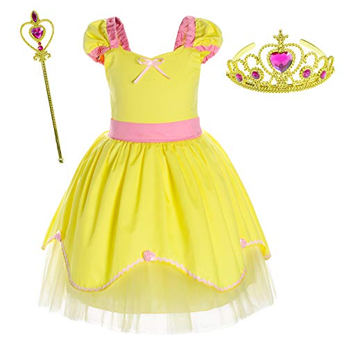 Princess Belle Costume Birthday Party Dress for Toddler Girls 2-3 Years (2T 3T)