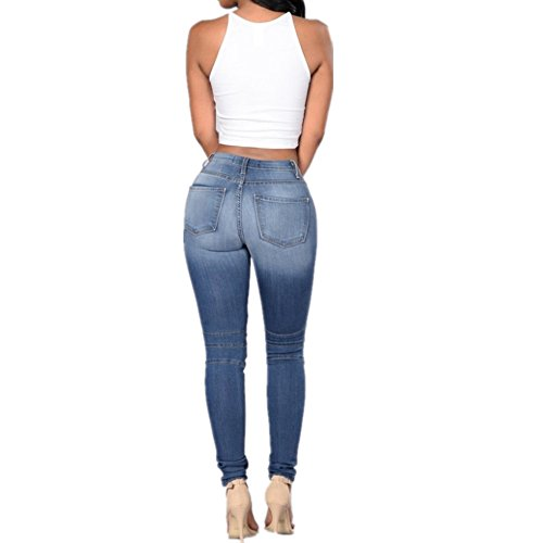 Pantalon pour Jeans Slim Folds Feet Stretch Stitching Femme Grossartig Blue fqpx4Twdf