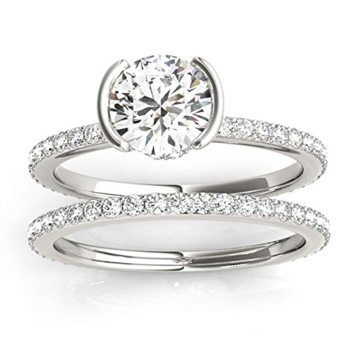 (0.56ct) 14k White Gold Semi-Bezel Setting Bridal Set