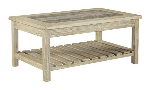 - Ashley Furniture Signature Design - Veldar Casual Rectangular Cocktail Table with Planked Shelf - Whitewash
