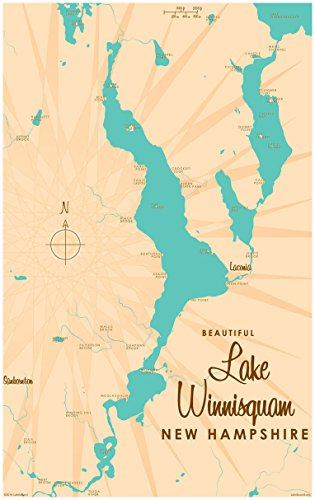 Lake Winnisquam New Hampshire Map Vintage-Style Art Print by Lakebound (30