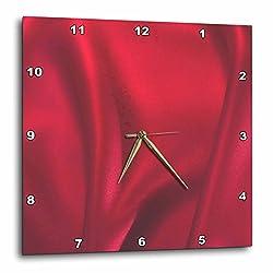 3dRose DPP_57251_1 Red Silk Classy Fashion Art Wall Clock, 10 by 10