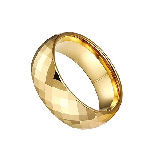CAFARELLY TOP Multi-Faceted Pure Gold Plated Tungsten Ring Wedding Jewelry Size 10.5 by CAFARELLY TOP (Image #1)