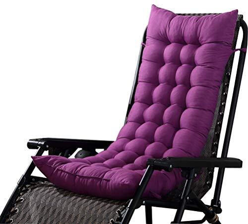 LamourBear Deck Rocking Chair Cushion with Ties 18 x 48 Inch Short Plush/PP Cotton Comfortable Soft for Bench High Back Chair Purple (Purple Cushion Bench)