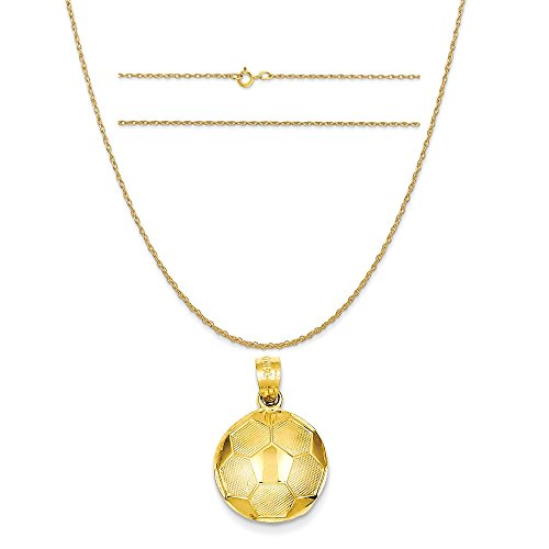 14k Yellow Gold Soccer Ball Pendant on a 14K Yellow Gold Carded Rope Chain Necklace, 18