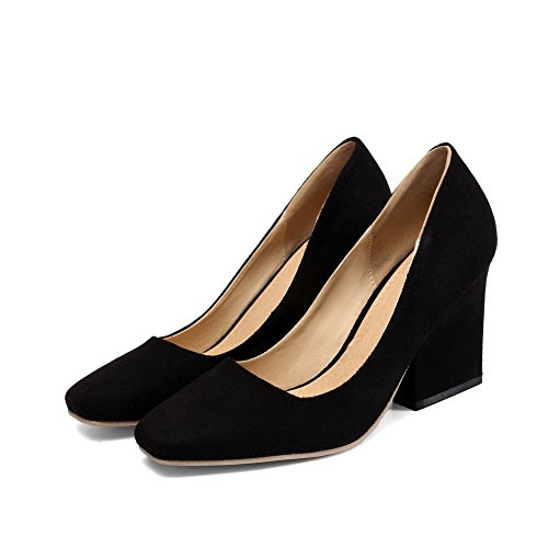 VogueZone009 Women's Closed Toe Black Pull Pumps Square Soft Solid Material High Heels Shoes On rrqxH4w
