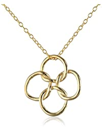 Sterling Silver Gold-Plated Quatrefoil Pendant Necklace, 18""