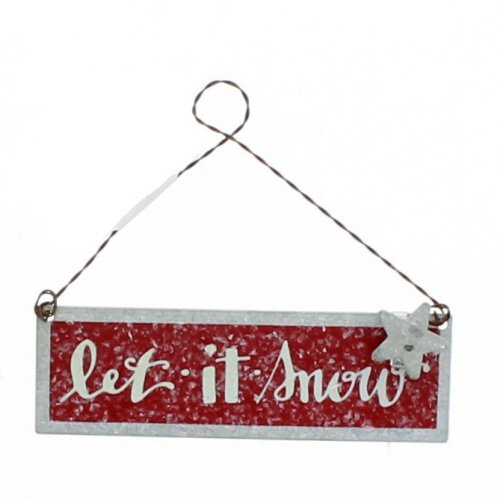 Primitives By Kathy Tin 4 Inches x 1.25 Inches Metal Sign Ornament - Let It Snow -