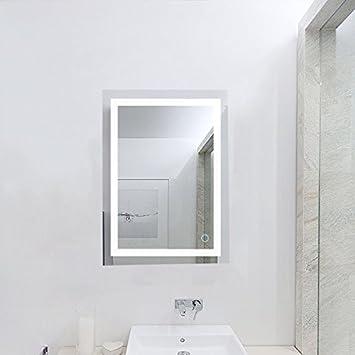 Flyelf Badspiegel LED Spiegel,50 x 70cm Beleuchtung Badezimmerspiegel,  kaltweiß 6500K