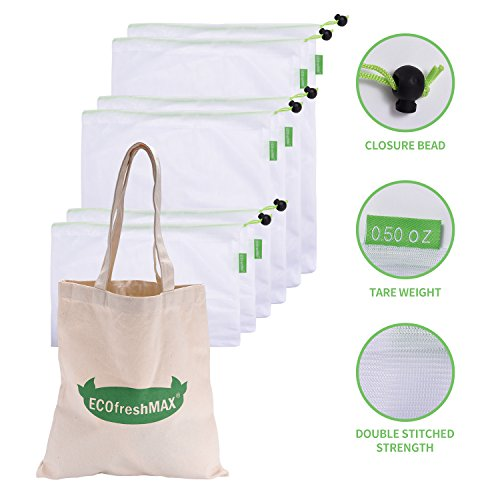 Reusable Mesh/Produce Storage Bags for Grocery, Snack, Food - Set of 7 Bundled with Cotton Shopping Bag - No more plastic Ziploc bags -with Tare Weight on Tags - 0 Waste Eco for Vegetables (Green, 6)