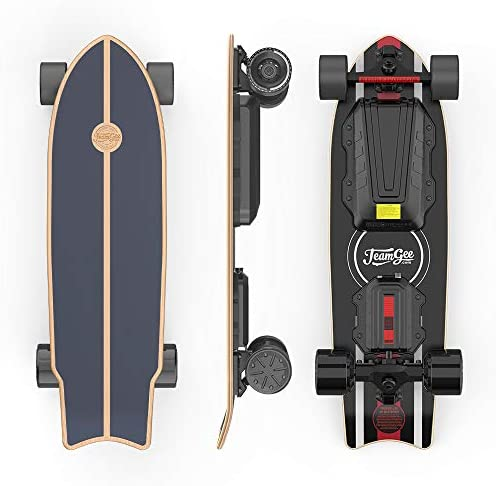 Teamgee H20 Mini Electric Skateboard with Wireless Remote Control 900W Dual Motors Top Speed 24mph Range 18 Miles Board Weight 16 lbs, 7-Layer Maple Longboard for Adults and Youth