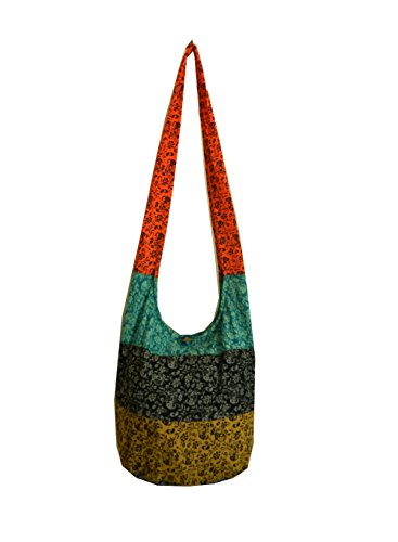 BenThai Products Hippie Hobo Sling Crossbody Bag Messenger Purse, Elephant Floral, Assorted Color by BenThai Products