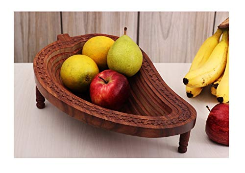 Wooden Mango Shape Fruit Basket Bread Snack Vegetable Bowl Rack Handmade By Affaires. Makes a Unique and Elegant Christmas or Birthday Gift. W-40075