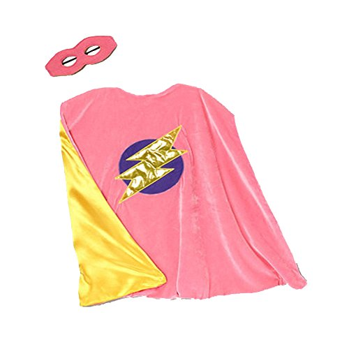 Pink & Yellow Reversible Bolt Cape & Mask (Enchanted Wishes Costume)