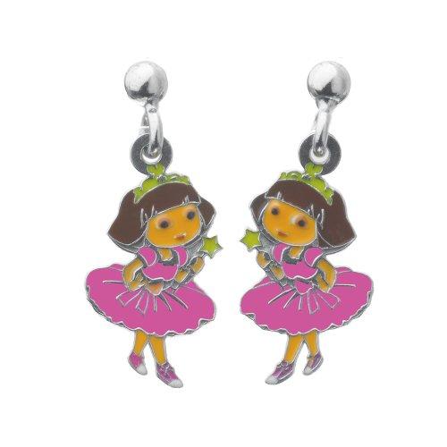 Dora - 3131077 - Princesse - Boucles d'Oreilles Pendantes Enfant - Argent 925/1000 Rhodié 1.40 gr - Email