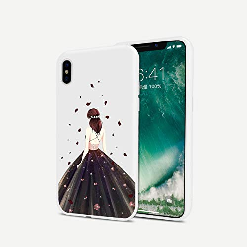 LuGeKe Glitter Girl with Black Dress Phone case Relief Silicone Girly Shiny Pattern Design Slim Shockproof Back Cover for Apple iPhone 6 Plus/6S Plus