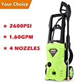 Luckdeal Electric Pressure Washer 2600 PSI Power Washer, Rolling Wheels Surpport, Professional Washing Cleaner Machine 1.6GPM + Power Hose Nozzle Gun+ 4 Nozzle Adapters (2600PSI)