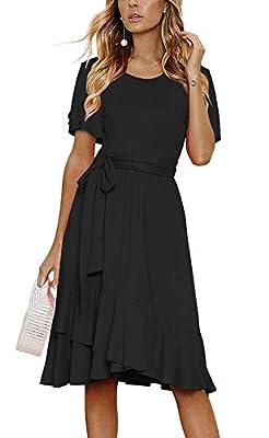 Women's Plain Casual Flowy Short Sleeve Midi Dress with Belt
