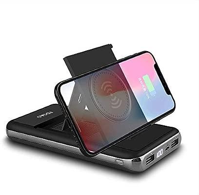DINTO Cargador USB portátil 10000 mAh Wireless Power Bank Plegable Cargador inalámbrico 2 USB batería Externa con Pantalla Digital LED Compatible con ...