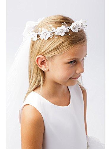 Girls White Pearl Rhinestone Center Floral Crown Communion Flower Girl Veil ()