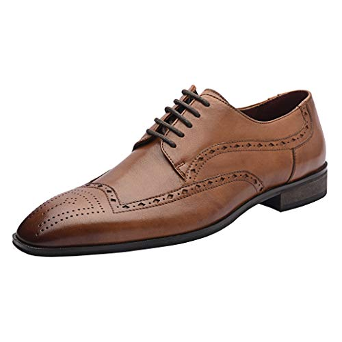Handcrafted Leather Oxford Dress Shoes - Allonsi Pascal Men's Modern Dress Shoes, Genuine Leather Wingtip Oxford Dress Shoes for Men, Handcrafted Genuine Leather Men Dress Shoes (Cognac, 11M US)