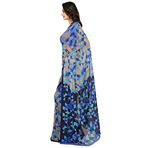 Vaamsi Women's Georgette Printed Saree (RC3230_Blue_One Size)
