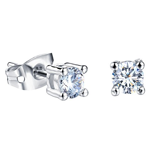 Platinum Plating Titanium Steel Princess 3A Rhinestone Stud - Diamond Titanium Earrings