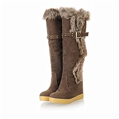 Amazon.com: Kenavinca High Wedges Heels Snow Boots for
